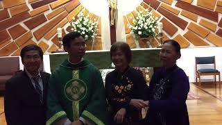 Great Family with New Priest Đaminh Nguyễn Việt Bình Saint Cecilia Tustin