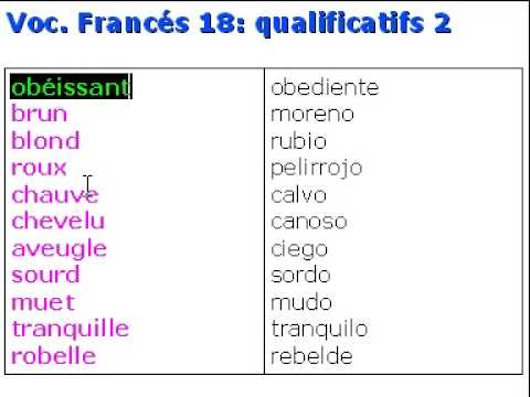 Franc s vocabulario 18 qualificatifs 2 youtube for Vocabulario cocina frances
