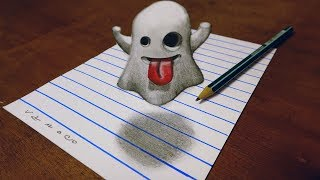👻DRAWING EMOJI GHOST 3D FOR KIDS - TRICK ART ON LINE PAPER