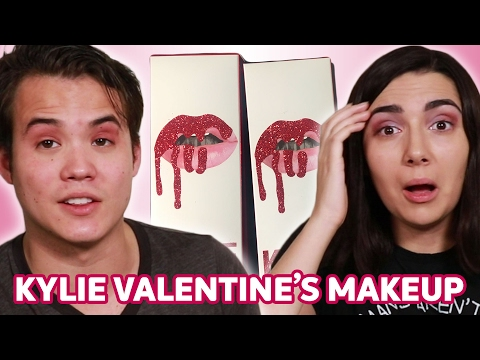 Trying Kylie Jenner's Valentine's Makeup With My Boyfriend • Saf & Tyler
