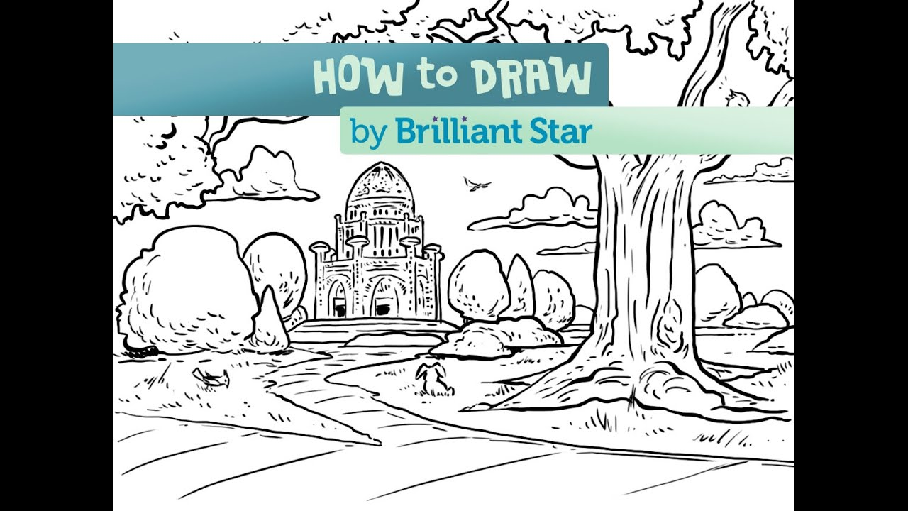 Garden drawing pictures - How To Draw A Baha I Temple Garden Episode 2 A Brilliant Star Series
