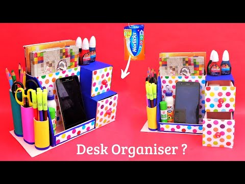 DIY Desk Organizer making at home with waste boxes   Best out of waste