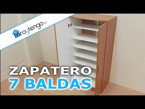 Zapatero armario economico y de gran capacidad, 7 baldas en color castaño, blanco o wengue.