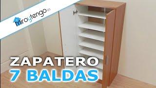 Repeat youtube video Zapatero armario economico y de gran capacidad, 7 baldas en color castaño, blanco o wengue.