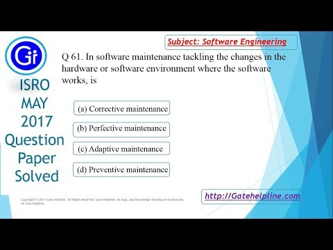 Q 61. In software maintenance tackling the changes in the hardware