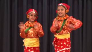 Cute little Nepali girls dancing in Nepali New year program ~_~
