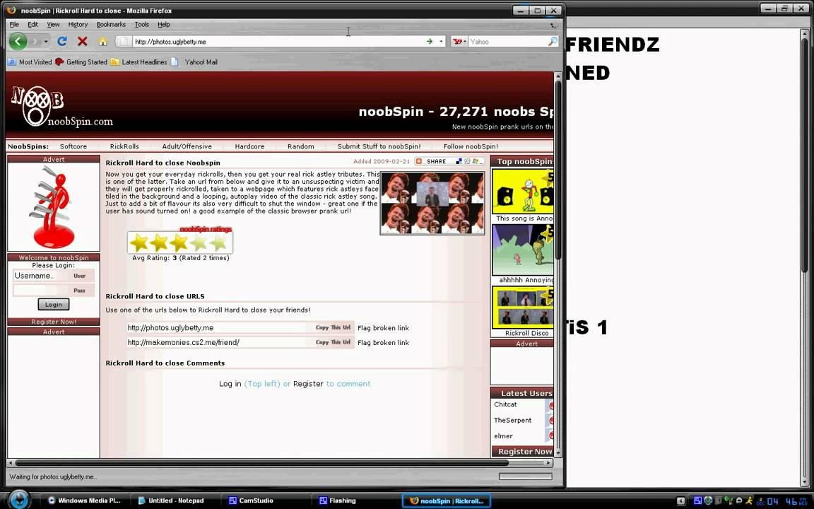 THE BEST PRANK SITES LIKE , NOOBSPiN,RICKI ROLLING