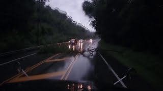 Tree down, Near Miss with Loaded Semi - Dashcam Video