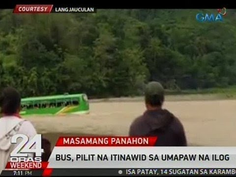 24 Oras: Bus, pilit na tinawid ang umapaw na ilog sa Zamboanga del Norte