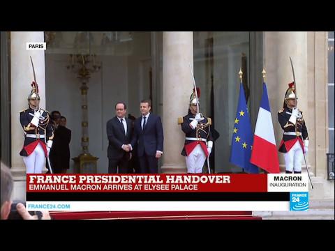 #France: Newly elected president Emmanuel Macron arrives at Elysée Palace
