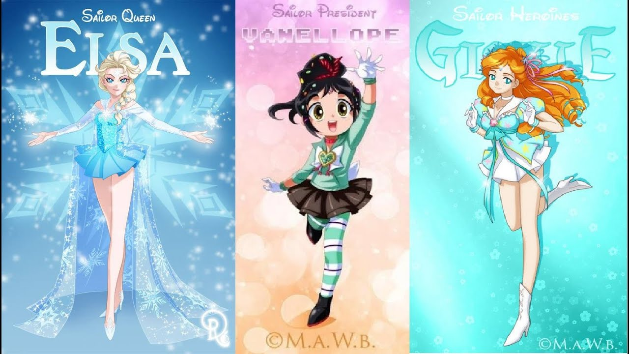 Princesas Disney vueltas sailor moon souts 01▻Disney princesses ...