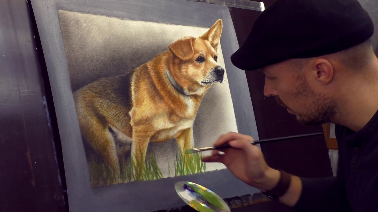 Trick Art 3d Painting Of A Dog From Photo Speed Drawing