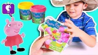 Peppa Pig Cupcake Play Dough Set! Frosting + George Dinosaur By Hobbykidstv