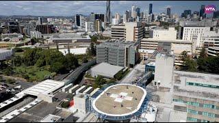 Ashleigh Barty plays helipad tennis on Brisbane hospital visit