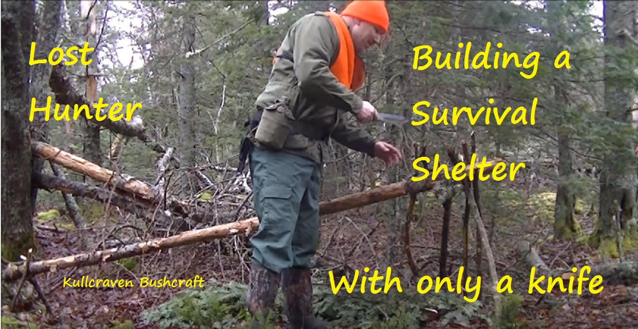 Lost Hunter Building A Survival Shelter Using Only A Knife