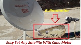 make clinometer and easy set dish antenna | Mobile and meter ke bina  satellite track kare .
