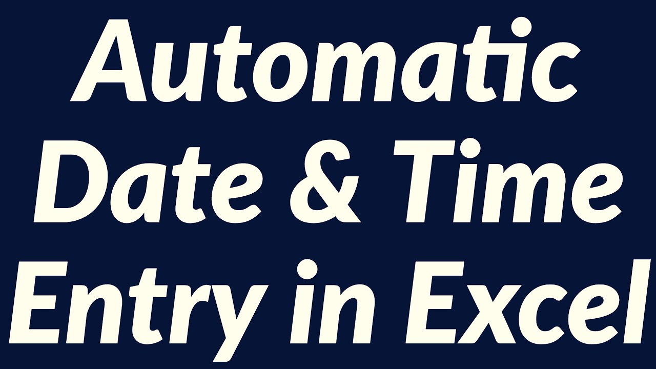 Automatic Date Amp Time Entry Using Excel Vba