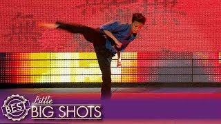 Roundhouse Kicking Kieran Flips All Over the Stage! | Colombia Little Big Shots