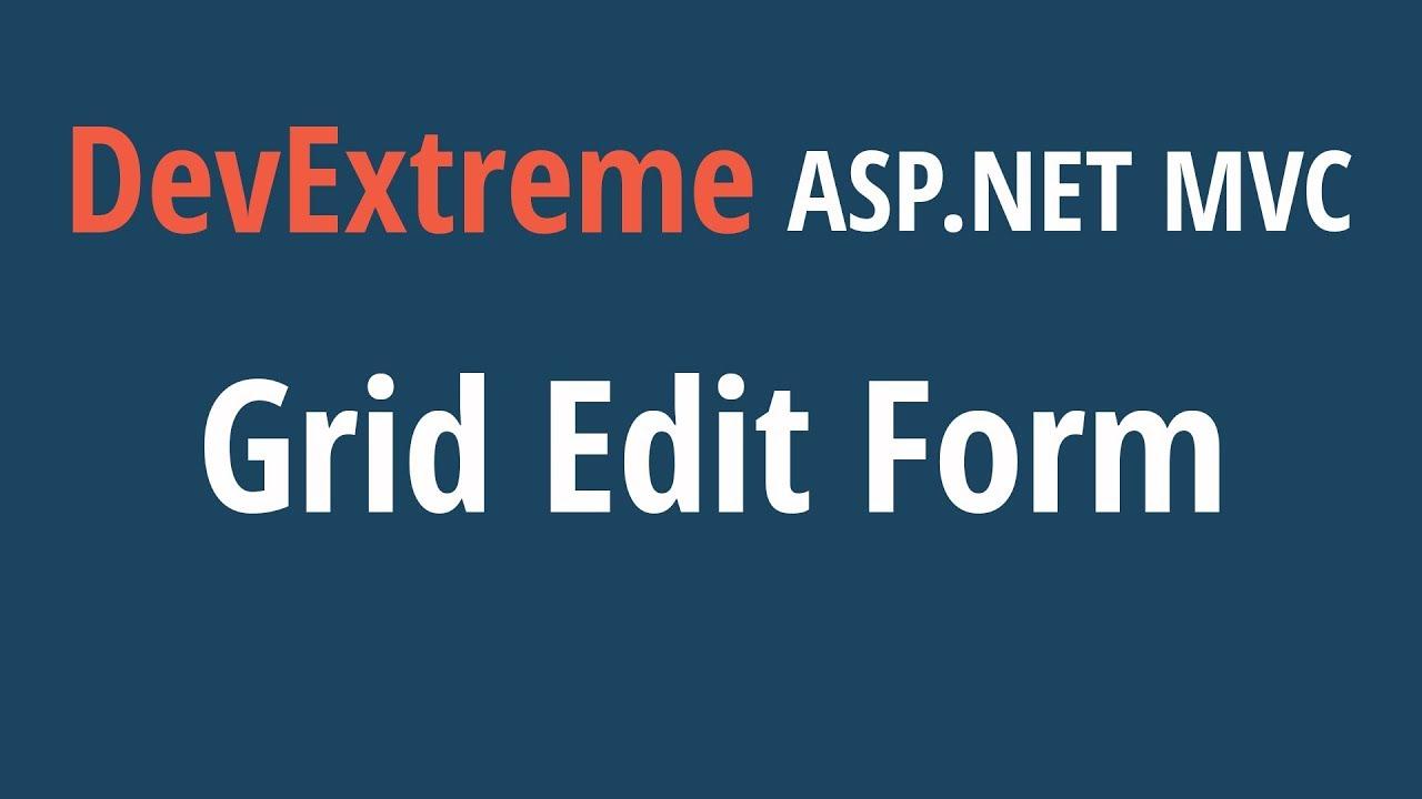DevExtreme ASP NET MVC Grid: The Edit Form