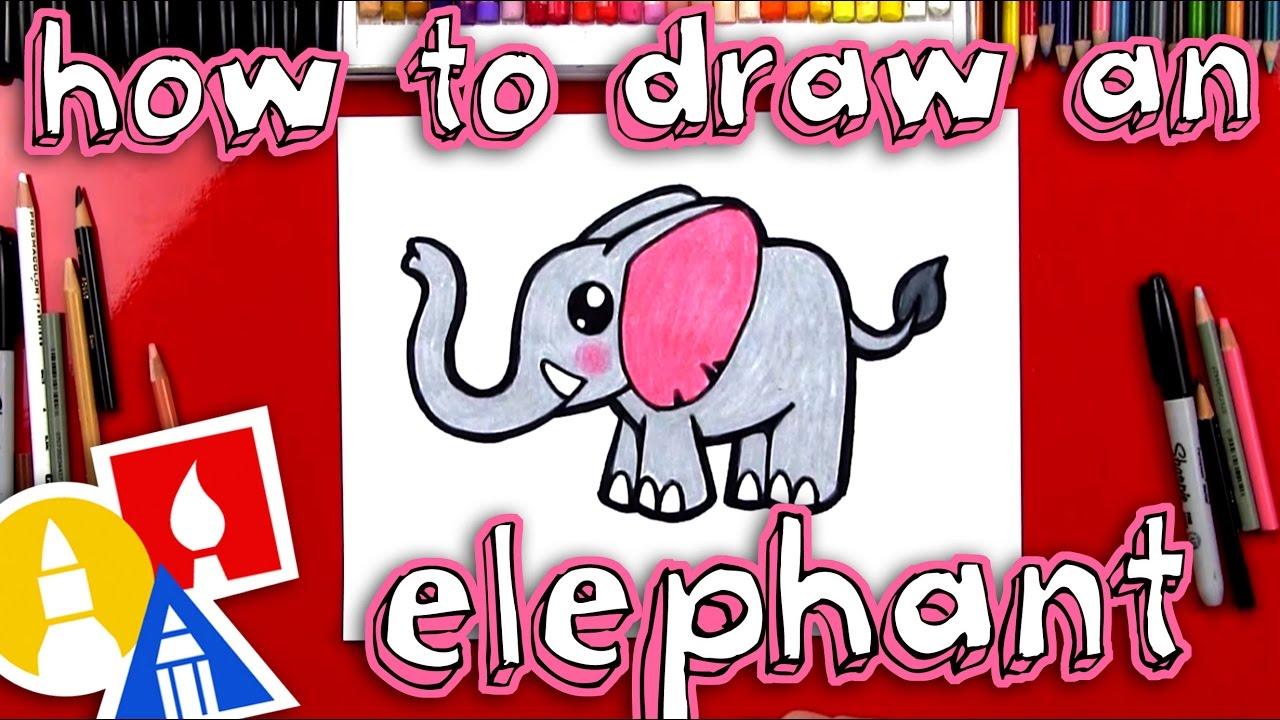 How To Draw A Cartoon Elephant - YouTube