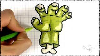 Dessin Halloween Zombie.Dessin Main Zombie Halloween Pixel Art Youtube