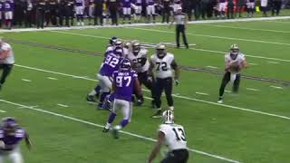 Andrew Sendejo gets knocked out by Michael Thomas || Vikings vs Saints NFC Divisional Round 2018