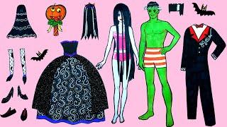 Học Làm Búp Bê Giấy - Tự Tay Làm Cô Dâu Ma Sadako Và Chú Rể Frankenstein - Câu Chuyện Của Barbie #38