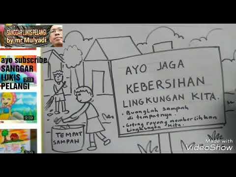 Menggambar Poster Tema Kebersihan Lingkungan