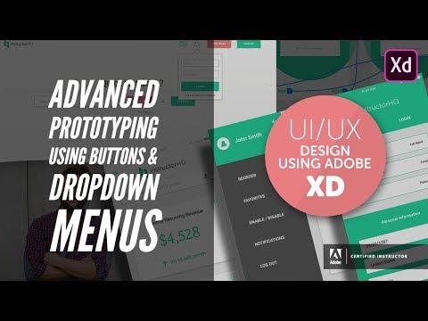 Advanced prototyping using buttons & dropdown menus - UI/UX & Web Design using Adobe XD [36/42]