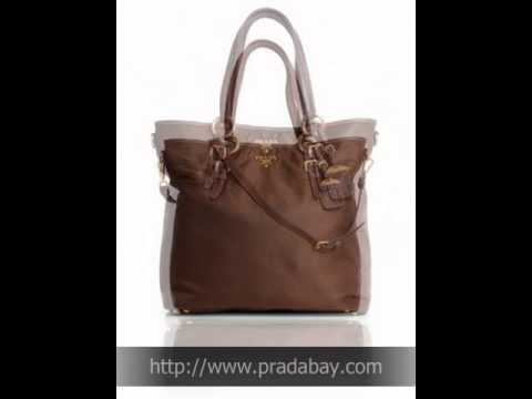 Prada Nylon Tessuto Shopping BROWN Prada Tote Bag - YouTube