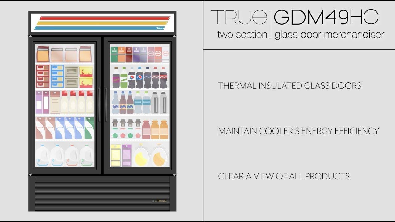 True Gdm 49 55 Two Section Glass Door Merchandiser Youtube