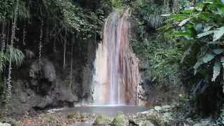 colored Diamond Falls in Soufriere- St Lucia