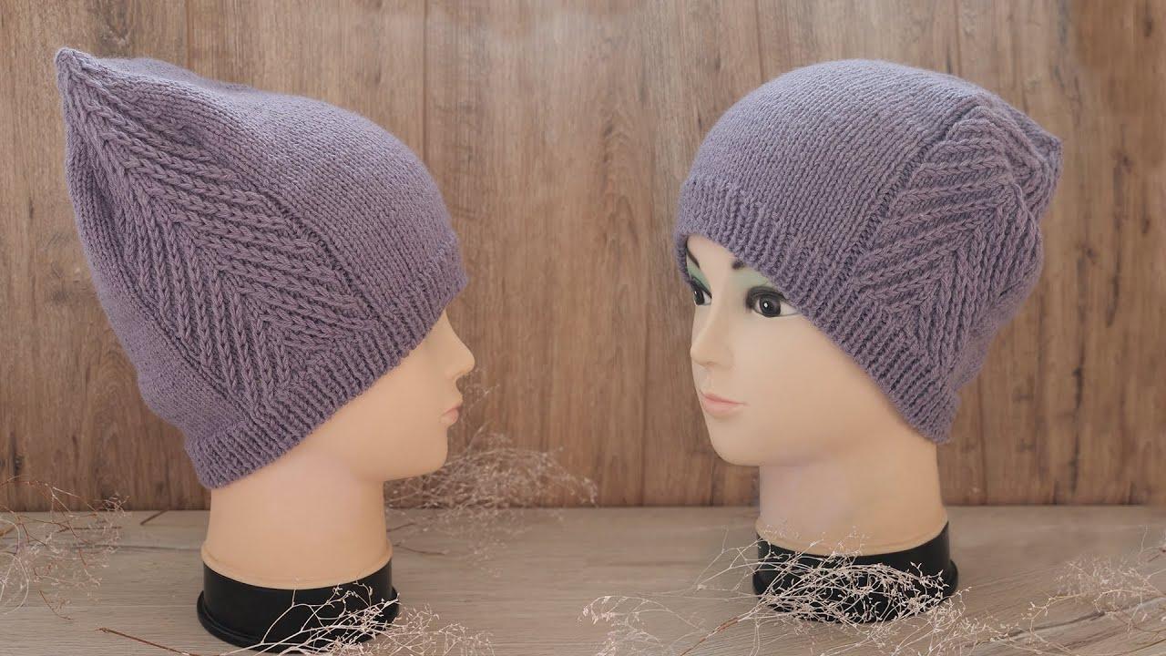 Легкая шапка спицами с макушкой – лопаткой 😘 Easy knitted hat