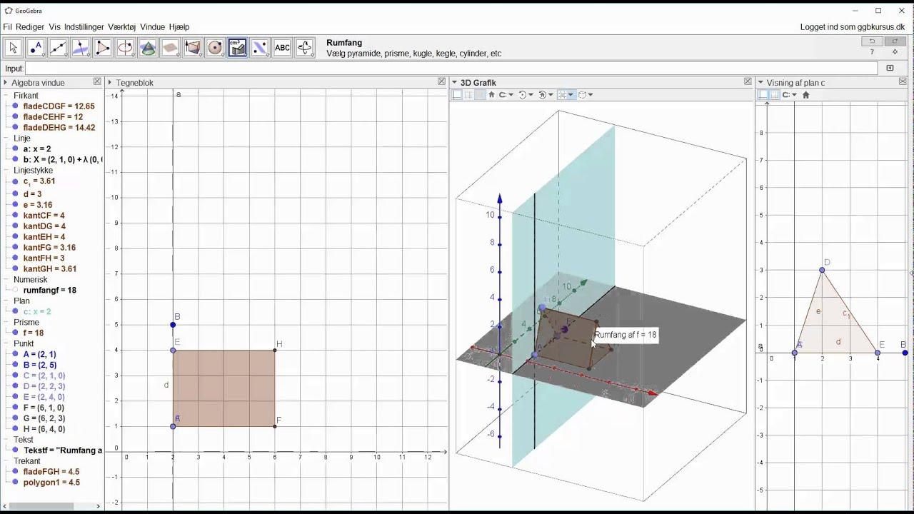 Lav prisme og udfoldning af prisme i plan i 3D