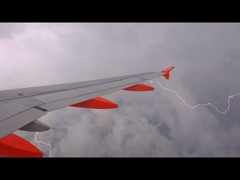 Lightning Storm Departure from Toulouse - EasyJet Airbus A319 G-EZIK