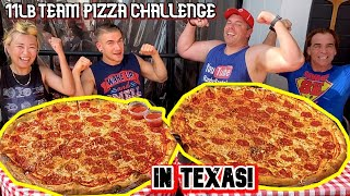 MASSIVE 11LB TEAM PIZZA EATING CHALLENGE IN DALLAS, TEXAS!!! #RainaisCrazy w/ Randy Santel & Joel