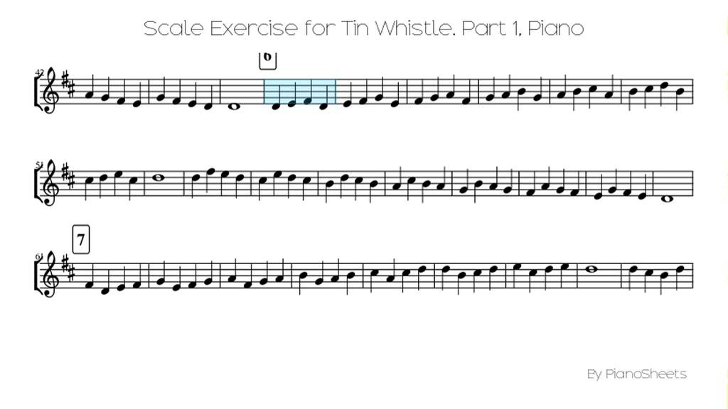 All Music Chords sheet music scale : Scale Exercise for Tin Whistle. Part 1 [Piano Solo] - YouTube