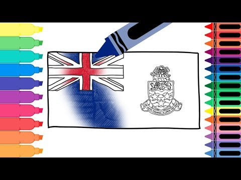 How to Draw Cayman Islands Flag-Drawing the Islas Caimán Flag-Coloring Pages for Kids-Tanimated Toys