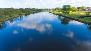 Rzeka Narew w Ostrołęce z lotu ptaka