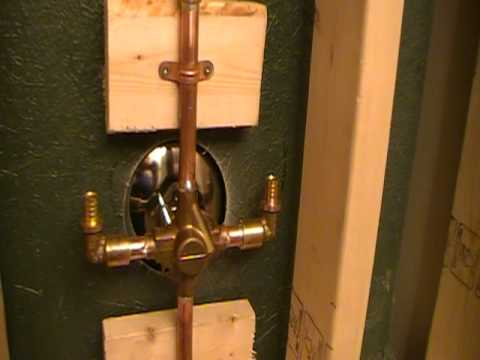 Shower Install...Part 5.How To Mount / Install Shower Faucets To An Acrylic  Shower Or Tub.