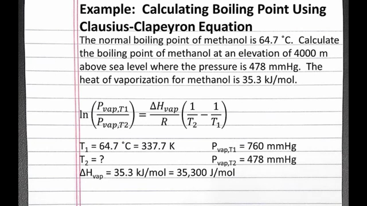 CHEMISTRY Calculating Boiling Point Using Clausius Clapeyron - Above sea level calculator