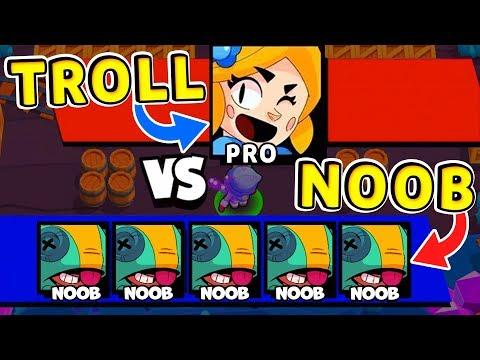 Piper TROLL vs Team NOOBS !! Funny Moments Brawl Stars # 11