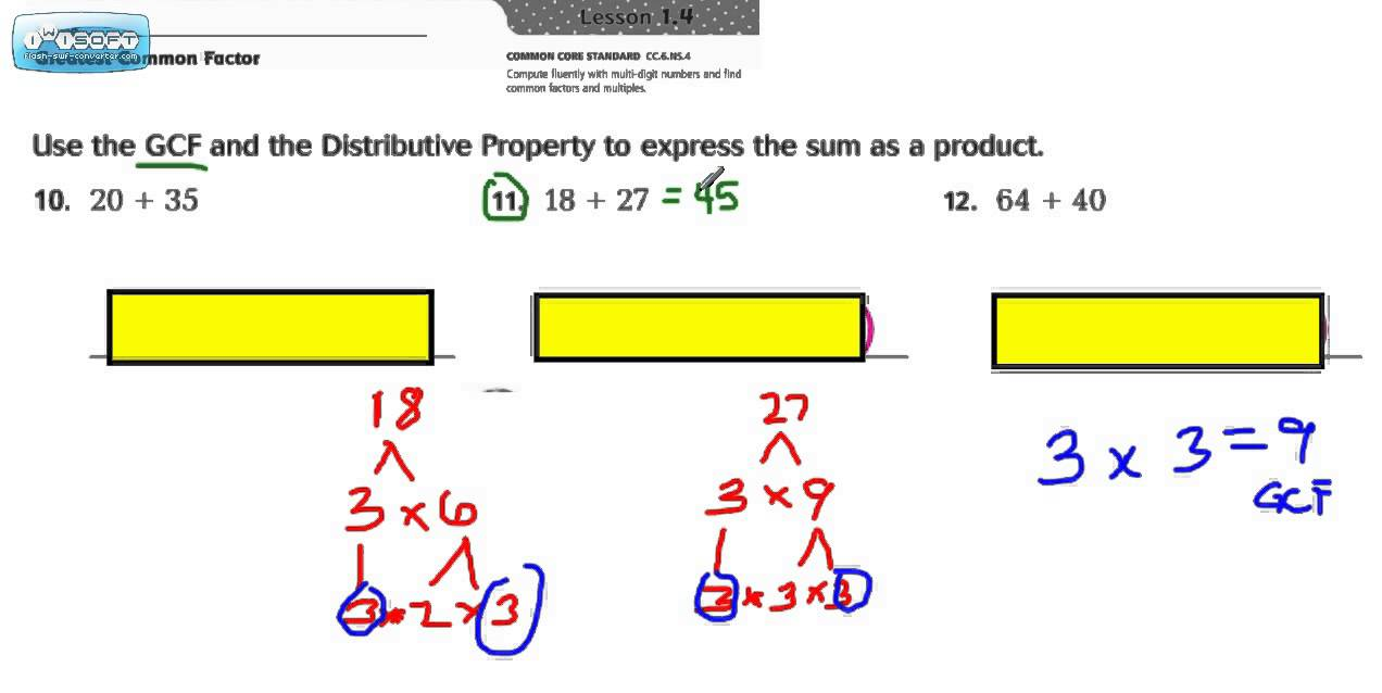 how to find the gcf using distributive property