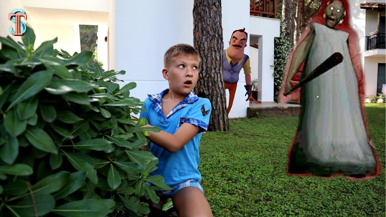 Прятки в ОТЕЛЕ! Тима потерялся! Гренни и Привет Сосед приследуют! Kids Hide and Seek spot in Hotel
