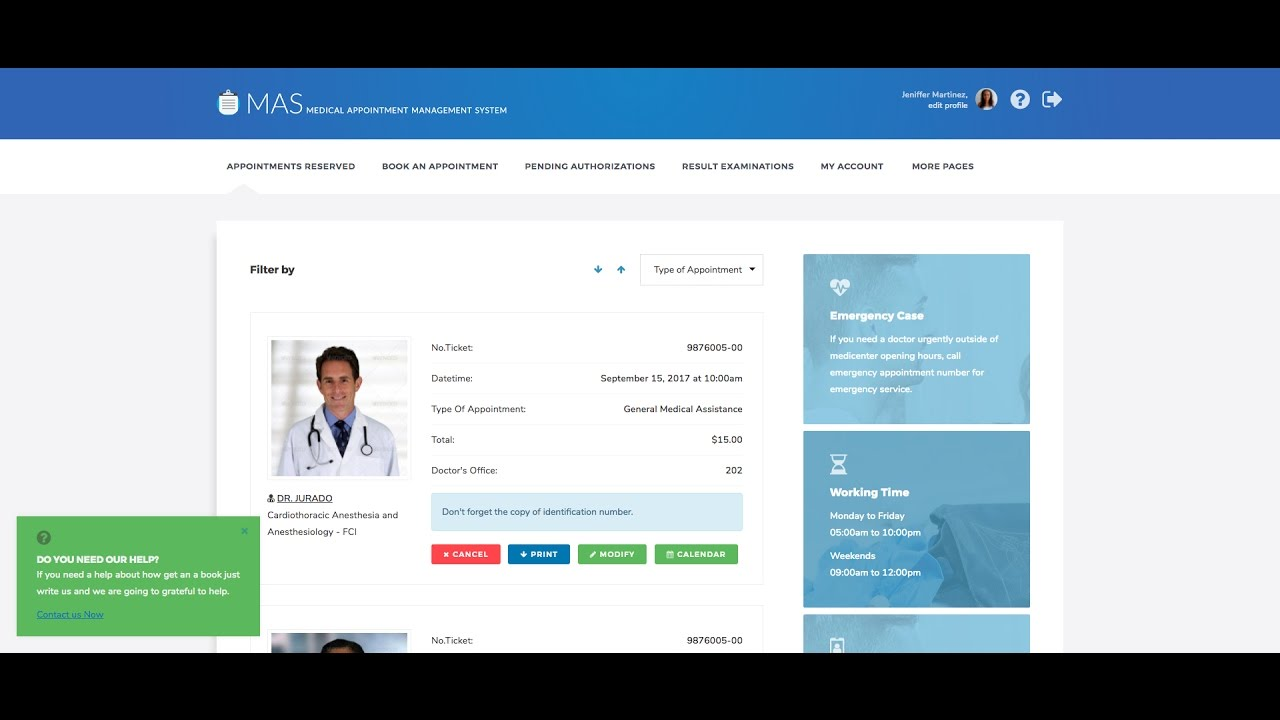Medical Appointment Management System, Dashboard for Simple User | Mas