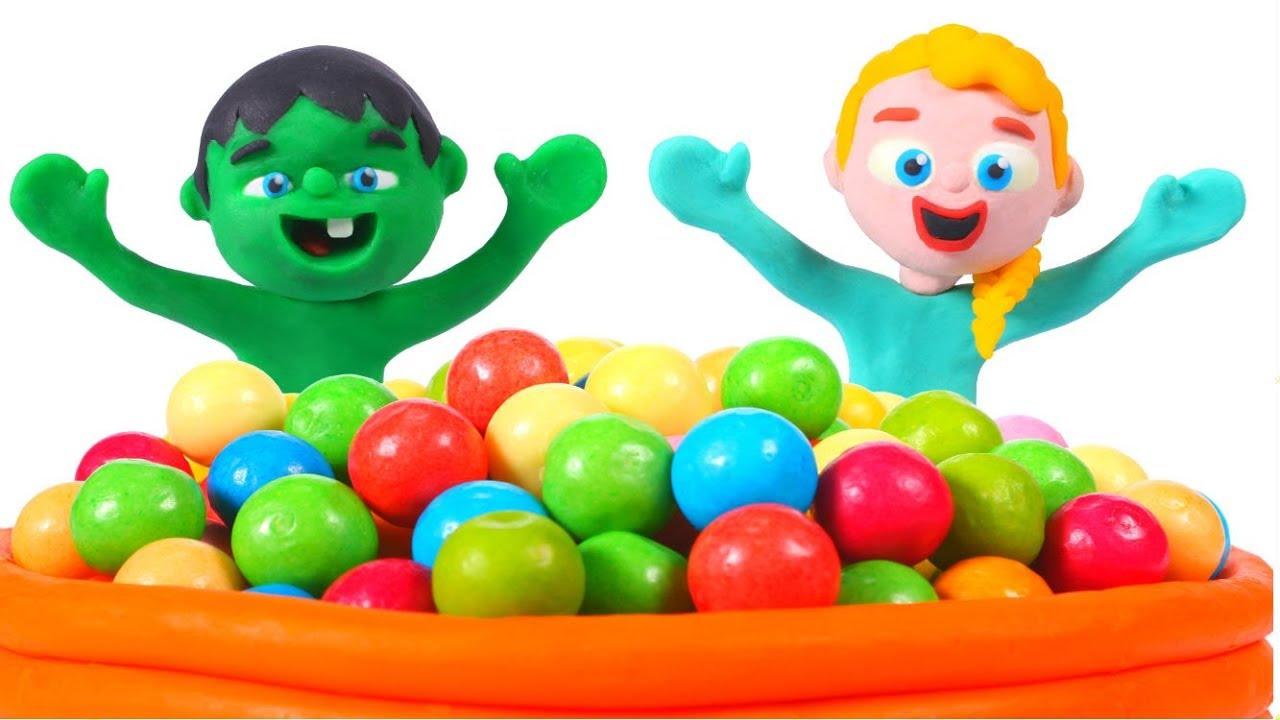 HULK AND FROZEN ELSA & THE BALLPIT SHOW ❤ Hulk & Frozen Elsa PlayDoh Cartoons For Kids