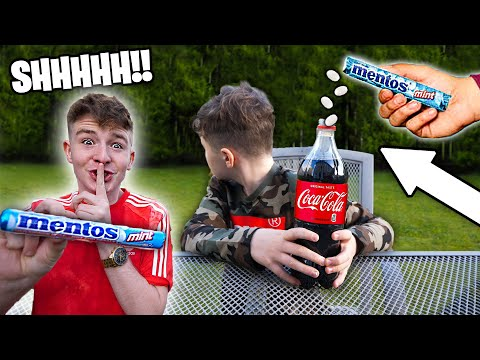 *PRANK* COCA COLA VS MENTOS ON LITTLE BROTHER!!