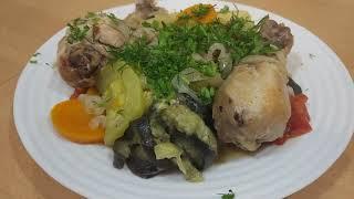 Курица с овощами - очень вкусно!