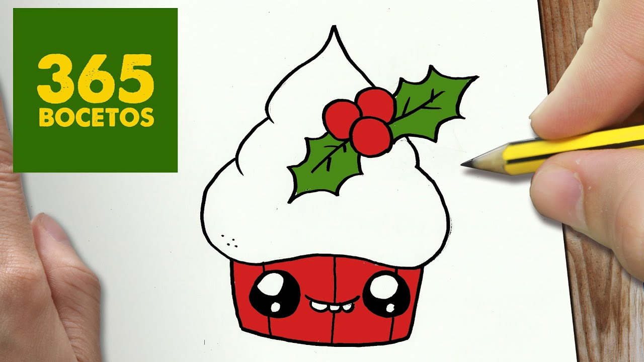 Como Dibujar Un Cuaderno Para Navidad Paso A Paso Dibujos: Como Dibujar Un Cupcake Kawaii Paso A Paso Dibujos