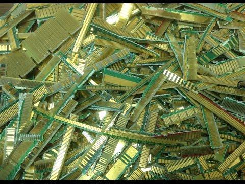Gold Recovery Escrap Computer Scrap Fingers in Aqua Regia